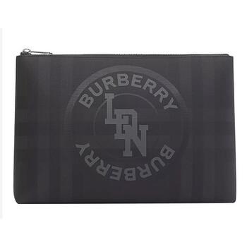 Burberry Dark Charcoal Logo Graphic London Check Zip Pouch Chính hãng từ Mỹ