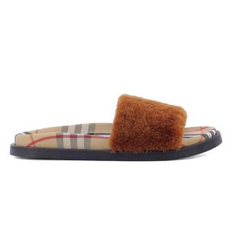 Giày Burberry Check Print Slides In Tan chính hãng sale giá rẻ