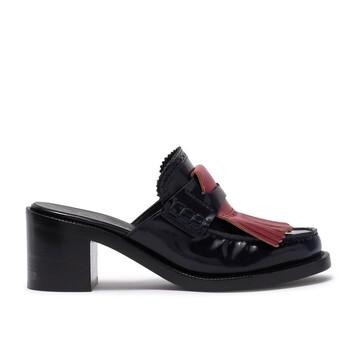 Giày Burberry Fringe Leather Contrast Kiltie Block-heel Mules chính hãng