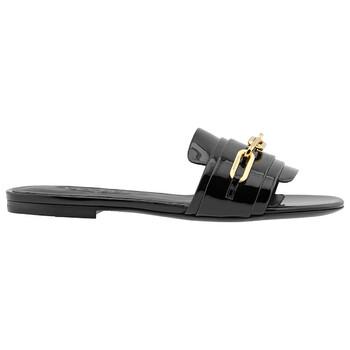 Giày Burberry nữ màu đen Link Detail Patent Sandals chính hãng