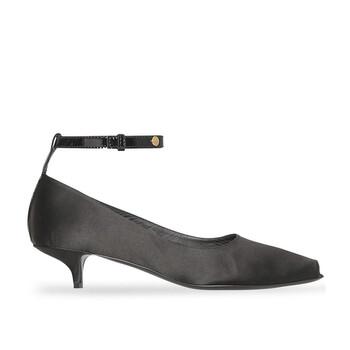 Giày Burberry nữ màu đen Satin Peep-toe Kitten-heel Pumps chính hãng
