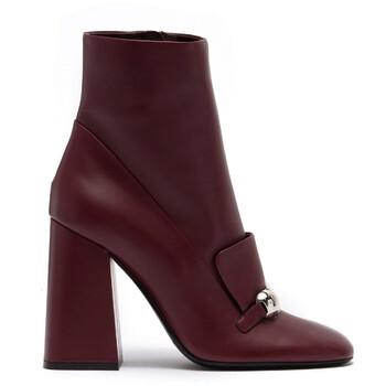 Giày Burberry nữ Bordeaux Brabant Leather Block-heel Boots chính hãng sale giá rẻ