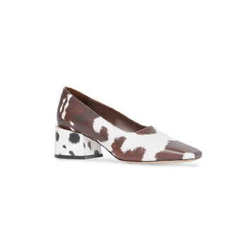 Giày Burberry nữ Brown Animal Print Leather Block-heel Pumps chính hãng