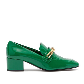 Giày Burberry nữ Patent Leather Link Detail Block-heel Loafers chính hãng sale giá rẻ