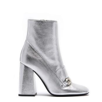 Giày Burberry nữ Silver Brabant Leather Block-heel Boots chính hãng