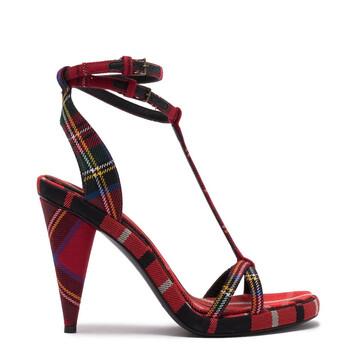 Giày Burberry nữ Tartan Wool Cone-heel Sandals chính hãng