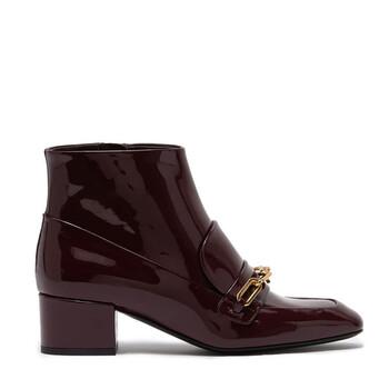 Giày Burberry Link Detail Patent Leather Ankle Boots chính hãng