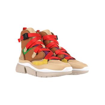 Giày Chloe nữ màu đỏ Sonnie High-top Sneakers chính hãng