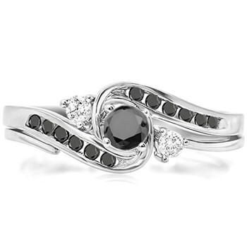 Trang sức Dazzling Rock Nữ Vàng trắng 10K 0.22 CT Round Cut Kim cương đen Wedding Set Nhẫn Size 8.5 chính hãng sale giá rẻ Hà nội TPHCM