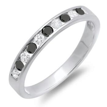 Trang sức Dazzling Rock Nữ Vàng trắng 14K 0.2 CT Kim cương đen Nhẫn cưới Size 7 chính hãng sale giá rẻ Hà nội TPHCM