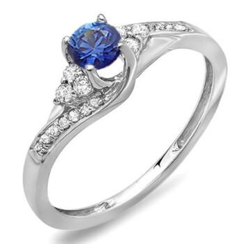 Trang sức Dazzling Rock Nữ Vàng trắng 14K 0.25 CT Blue Sapphire Nhẫn đính hôn Size 8 chính hãng sale giá rẻ Hà nội TPHCM