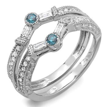 Trang sức Dazzling Rock Nữ Vàng trắng 10K 0.12 CT Kim cương xanh Stackable Nhẫn Size 6 chính hãng sale giá rẻ Hà nội TPHCM