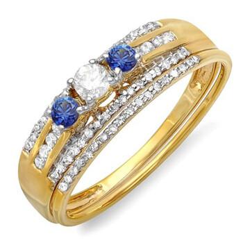 Trang sức Dazzling Rock Nữ Vàng 14K 0.1 CT Kim cương xanh Wedding Set Nhẫn Size 6 chính hãng sale giá rẻ Hà nội TPHCM