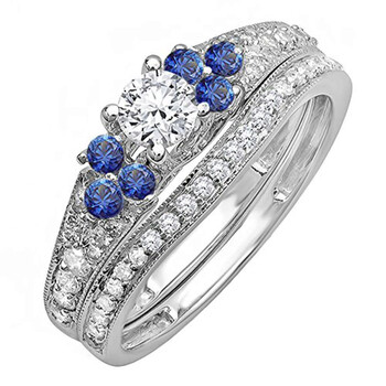 Trang sức Dazzling Rock Nữ Vàng trắng 14K 0.3 CT Kim cương xanh Wedding Set Nhẫn Size 7.5 chính hãng sale giá rẻ Hà nội TPHCM