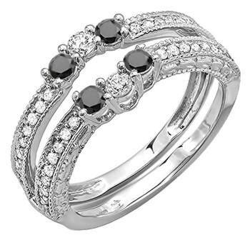 Trang sức Dazzling Rock Nữ Vàng trắng 14K 0.24 CT Kim cương đen Stackable Nhẫn Size 5.5 chính hãng sale giá rẻ Hà nội TPHCM