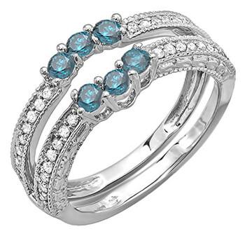 Trang sức Dazzling Rock Nữ Vàng trắng 14K 0.36 CT Kim cương xanh Stackable Nhẫn Size 7.5 chính hãng sale giá rẻ Hà nội TPHCM