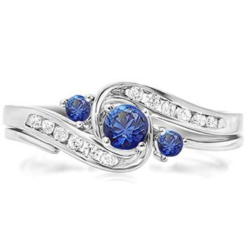Trang sức Dazzling Rock Nữ Vàng trắng 18K 0.22 CT Blue Sapphire Wedding Set Nhẫn Size 5 chính hãng sale giá rẻ Hà nội TPHCM