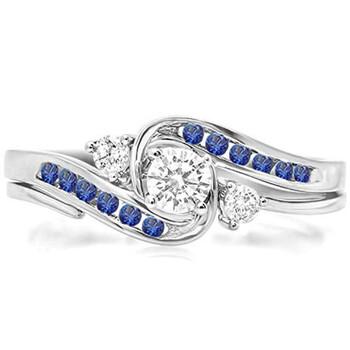 Trang sức Dazzling Rock Nữ Vàng trắng 10K 0.22 CT Blue Sapphire Wedding Set Nhẫn Size 6 chính hãng sale giá rẻ Hà nội TPHCM