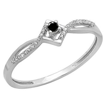 Trang sức Dazzling Rock Nữ Vàng trắng 10K 0.15 CT Kim cương đen Promise Nhẫn Size 7.5 chính hãng sale giá rẻ Hà nội TPHCM