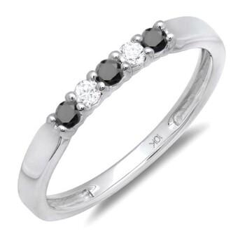 Trang sức Dazzling Rock Nữ Vàng trắng 10K 0.25 CT Kim cương đen Nhẫn cưới Size 7 chính hãng sale giá rẻ Hà nội TPHCM