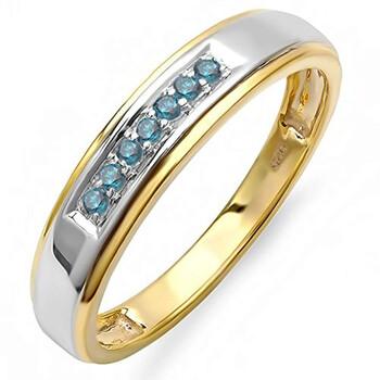 Trang sức Dazzling Rock Nam 925-Sterling Yellow Gold 0.12 CT Kim cương xanh Nhẫn cưới Size 11 chính hãng sale giá rẻ Hà nội TPHCM