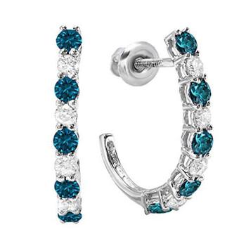 Trang sức Dazzling Rock Dazzlingrock Collection 0.50 Carat (ctw) Vàng trắng 10K Round Blue & Kim cương trắng Nữ Fancy J Shaped Hoop Bông tai (khuyên tai