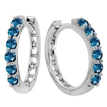 Trang sức Dazzling Rock 0.33 Carat (ctw) 14K Round Blue Diamnond Nữ Huggies Hoop Bông tai (khuyên tai