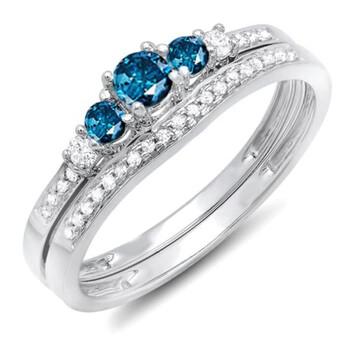 trang sức Dazzling Rock Nữ Vàng trắng 14K 0.18 CT Round Cut Kim cương xanh Wedding Set Nhẫn Size 4 chính hãng sale giá rẻ tại Hà nội TPHCM
