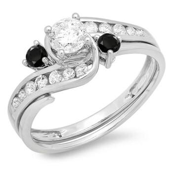 Trang sức Dazzling Rock Nữ Vàng trắng 10K 0.42 CT Kim cương đen Wedding Set Nhẫn Size 6.5 chính hãng sale giá rẻ Hà nội TPHCM