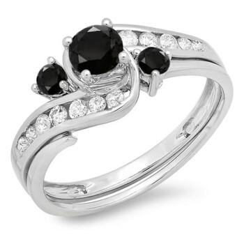 trang sức Dazzling Rock Nữ Vàng trắng 14K 0.42 CT Kim cương đen Wedding Set Nhẫn Size 6.5 chính hãng sale giá rẻ tại Hà nội TPHCM