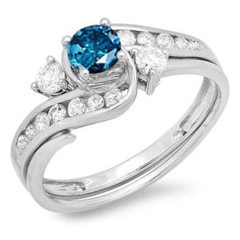 Trang sức Dazzling Rock Nữ Vàng trắng 10K 0.42 CT Kim cương xanh Wedding Set Nhẫn Size 7 chính hãng sale giá rẻ Hà nội TPHCM