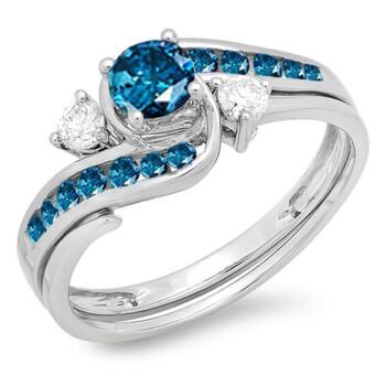 Trang sức Dazzling Rock Nữ 10k Gold 0.7 CT Kim cương xanh Wedding Set Nhẫn Size 8 chính hãng sale giá rẻ Hà nội TPHCM