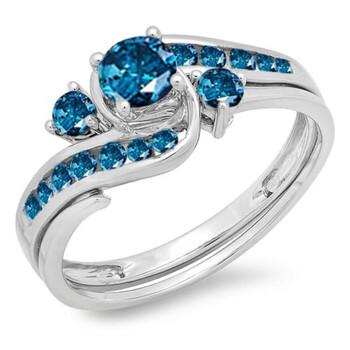 Trang sức Dazzling Rock Nữ Vàng trắng 14K 0.42 CT Kim cương xanh Wedding Set Nhẫn Size 6 chính hãng sale giá rẻ Hà nội TPHCM