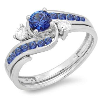 Trang sức Dazzling Rock Nữ Vàng trắng 10K 0.42 CT Blue Sapphire Wedding Set Nhẫn Size 5.5 chính hãng sale giá rẻ Hà nội TPHCM