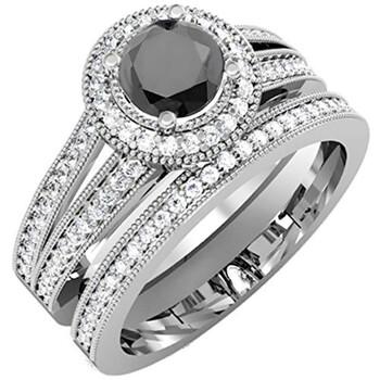 Trang sức Dazzling Rock Nữ Vàng trắng 10K 1.25 CT Kim cương đen Wedding Set Nhẫn Size 6 chính hãng sale giá rẻ Hà nội TPHCM