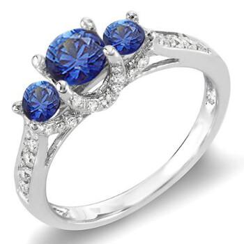 Trang sức Dazzling Rock Nữ Vàng trắng 14K 0.4 CT Blue Sapphire Nhẫn đính hôn Size 6.5 chính hãng sale giá rẻ Hà nội TPHCM