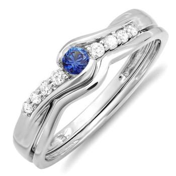 Trang sức Dazzling Rock Nữ Vàng trắng 14K 0.09 CT Blue Sapphire Wedding Set Nhẫn Size 7 chính hãng sale giá rẻ Hà nội TPHCM