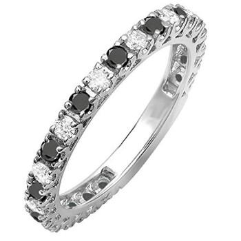 Trang sức Dazzling Rock Nữ Vàng trắng 10K 1 CT Đen/Kim cương trắng Eternity Nhẫn Size 7.5 chính hãng sale giá rẻ Hà nội TPHCM