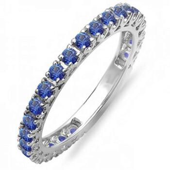 Trang sức Dazzling Rock Nữ Vàng 14K 0.9 CT Blue Sapphire Eternity Nhẫn Size 6.5 chính hãng sale giá rẻ Hà nội TPHCM