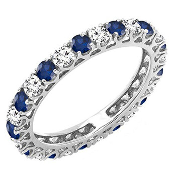 Trang sức Dazzling Rock Nữ Vàng trắng 14K 0.74 CT Round Cut Kim cương trắng và Blue Sapphire Eternity Nhẫn Size 9 chính hãng sale giá rẻ Hà nội TPHCM