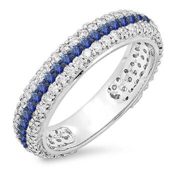 Trang sức Dazzling Rock Nữ Vàng 14K 0.5 CT Blue Sapphire và Kim cương Nhẫn cưới Size 7 chính hãng sale giá rẻ Hà nội TPHCM