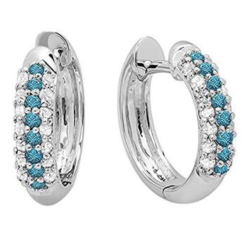 Trang sức Dazzling Rock Dazzlingrock Collection 0.30 Carat (ctw) 10K Round Blue & Kim cương trắng Pave Set Huggies Hoop Bông tai (khuyên tai