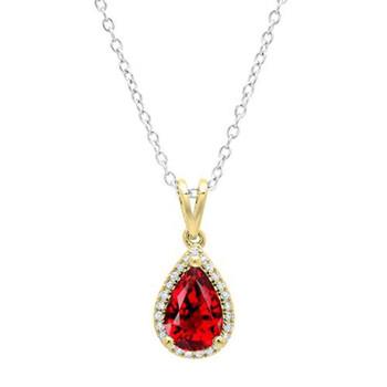 Trang sức Dazzling Rock Dazzlingrock Collection 14K 9X6 MM Pear Garnet & Round Kim cương Nữ Pendant (Silver Chain Included)
