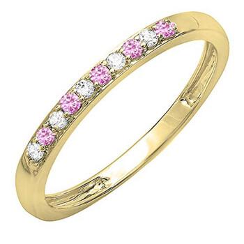 Trang sức Dazzling Rock Nữ Vàng 10K 0.08 Ct Pink Sapphire và Kim cương Nhẫn cưới Size 7 chính hãng sale giá rẻ Hà nội TPHCM