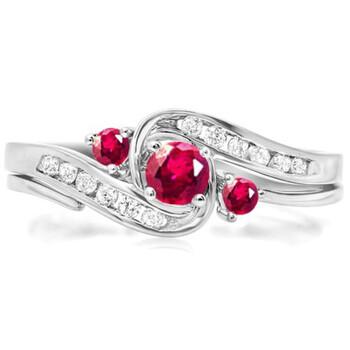trang sức Dazzling Rock Nữ Vàng trắng 18K 0.22 Ct Round Cut Red Ruby và Kim cương Wedding Set Nhẫn Size 7 chính hãng sale giá rẻ tại Hà nội TPHCM