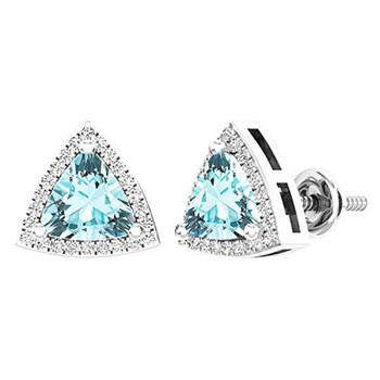 Trang sức Dazzling Rock Dazzlingrock Collection 14K 6 MM Trillion Aquamarine & Round Kim cương trắng Nữ Halo Stud Bông tai (khuyên tai