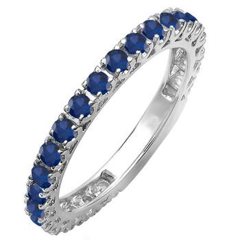 Trang sức Dazzling Rock Nữ Vàng trắng 10K 0.9 CT Blue Sapphire Eternity Nhẫn Size 9 chính hãng sale giảm giá sỉ rẻ nhất ở Hà nội TPHCM