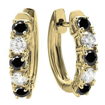 Trang sức Dazzling Rock Dazzlingrock Collection 18K Round Kim cương đen & Kim cương trắng Nữ Huggies Hoop Bông tai (khuyên tai