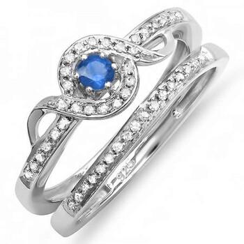 Trang sức Dazzling Rock Nữ 925-sterling Bạc 925 0.1 Ct Blue Sapphire và Kim cương Wedding Set Nhẫn Size 5 chính hãng sale giá rẻ Hà nội TPHCM
