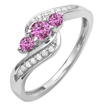 Trang sức Dazzling Rock Nữ Vàng trắng 14K 0.2 Ct Pink Sapphire và Kim cương 3 Stone Nhẫn Size 6.5 chính hãng sale giá rẻ Hà nội TPHCM
